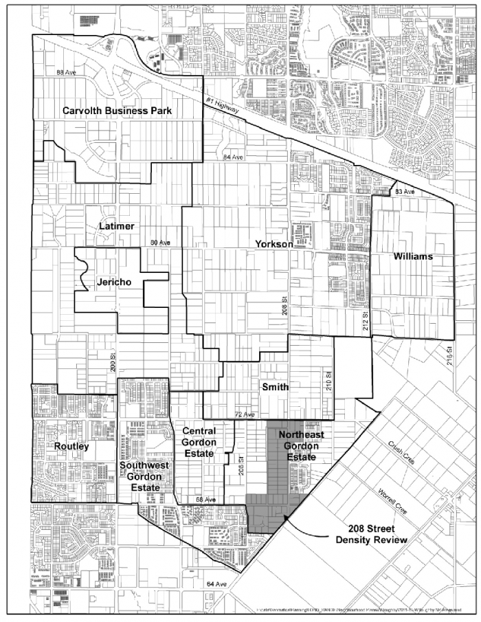 Neighbourhood map excerpted from the Willoughby Official Community Plan, published by the Township of Langley
