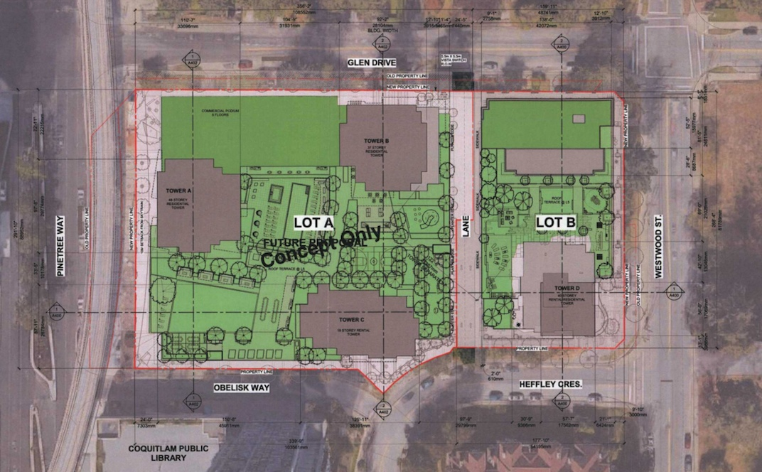 Polygon's proposed project will be located on the lot indicated as Lot B, the proposed project by Onni is indicated as Lot A (Chris Dikeakos Architects, Polygon Development)