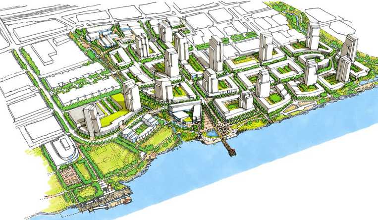 Artist Rendering by Perkins + Will of Fraser Mills, www.villageatfrasermills.com