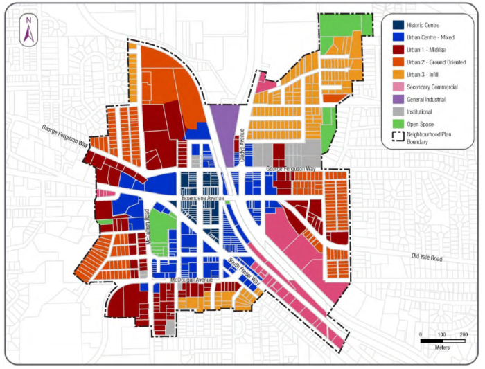 Draft land use map excerpted from the City of Abbotsford's draft neighbourhood plan