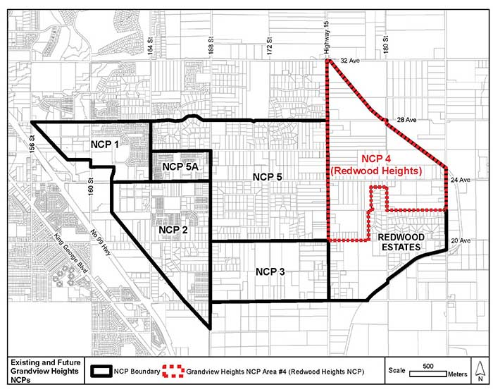 Redwood Heights Neighbourhood Concept Plan (formally Grandview Heights NCP #4) is located within the Grandview Heights General Land Use Plan area. Image credit: City of Surrey.