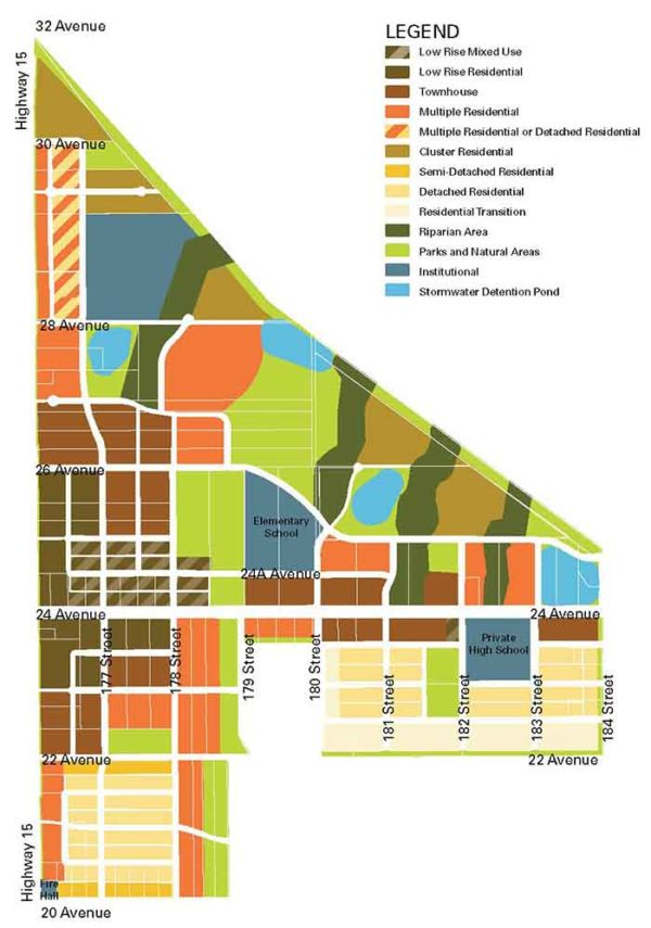 Redwood Heights land use strategy map, source: City of Surrey Corporate Report May 4, 2020