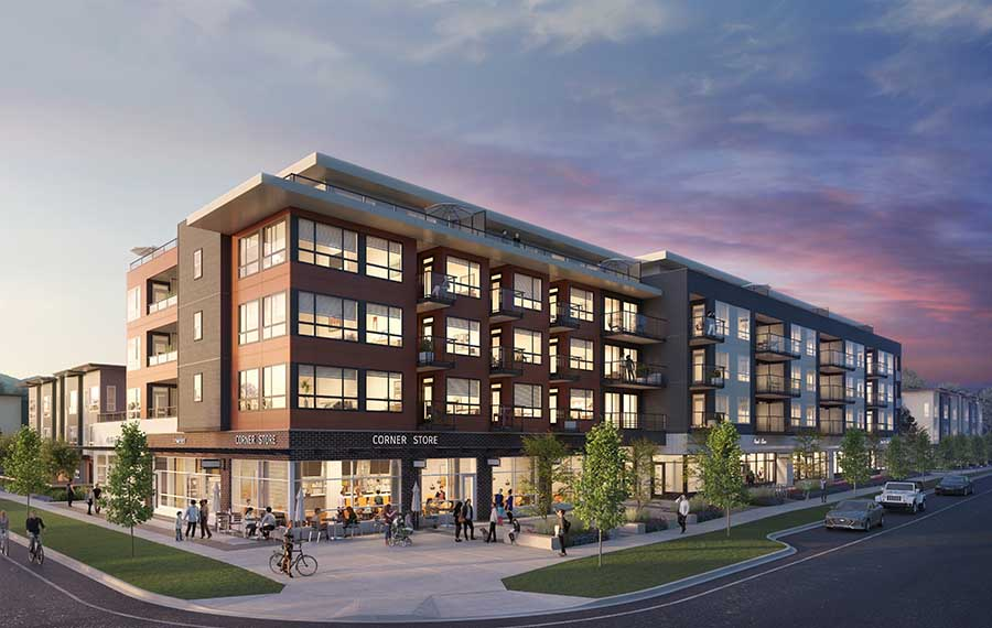Artist rendering of The Corners, a four story mixed-use condo building with retail units on the ground floor.