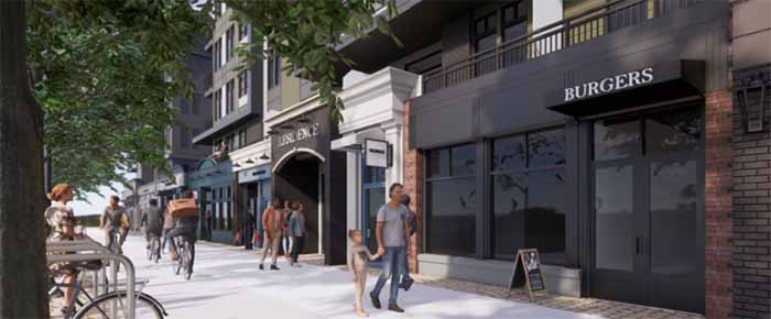 Artist rendering of streetscape at upcoming development located at 33816 South Fraser Way